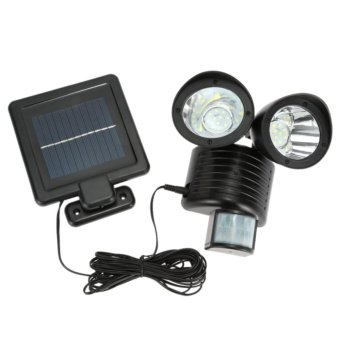 22 led solar powered double head human body sensor lightsspotlights waterproof outdoor garden lights street lights - intl