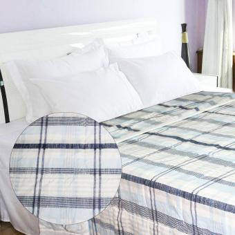 230x200 Queen Size Bed Comforter Checkered (Blue)