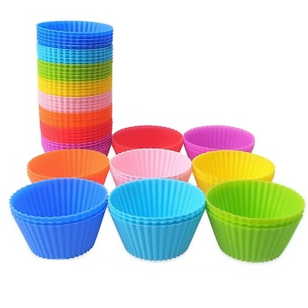 24 PCS Silicone Reusable Baking Cups Cookies Pudding Making Cupcakes Mold Storage Container Random Color - intl