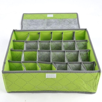 24 Pockets Bamboo Nonwoven Foldable Colorful Storage Box ForUnderwear Socks Tie Bra Closet Drawer Divider Organizer BoxContainer - intl