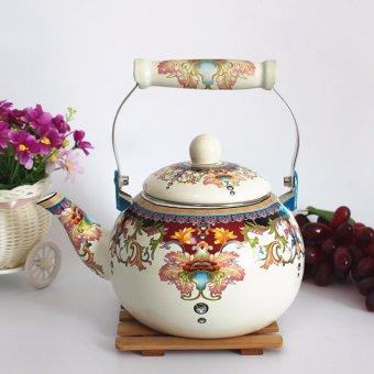 2.4L enamel kettle Flower Coffee Tea Pot - intl - 2