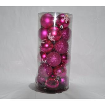 24Pcs Pink Balls Christmas Decoration