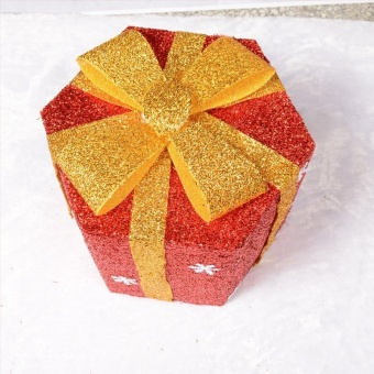 25cm Snowflake Sisal PVC Hexagon Gift Boxes Christmas Party Yard Art Decorations (Red) by LuckyG - intl - picture 2