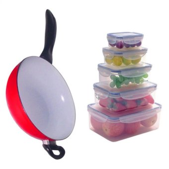 26cm Non-Toxic Ceramic Coating Deep Frying Pan with Keimav lock10-Pc Airtight Food Storage Container Box Set