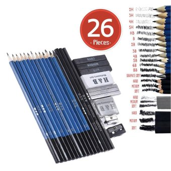 26pcs Professional Drawing Sketch Pencil Kit Set Including Sketch Pencils Graphite & Charcoal Pencils Sticks Erasers Sharpeners for Art Supplies Students - intl