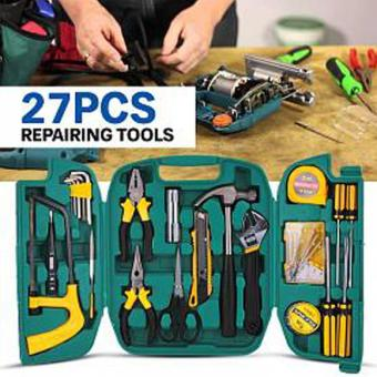 27 In 1 Precision Hardware Repair Tool Box- Screw Driver Screwdriver Hammer Spanner Knife Pliers Set for Household Car Repair