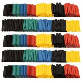 280pcs 2:1 Polyolefin Halogen Free Heat Shrink Tube Sleeving SetBlack & Red & Yellow & Blue & Green - intl