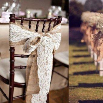 2M Vintage Lace Edged Hessian Burlap Ribbon Rustic Wedding PartyDecor size:5 - intl - 3