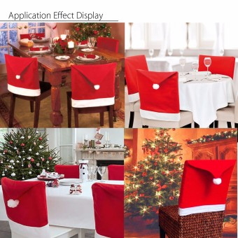 2PCS 6x Christmas Chairs Back Cover Dinner Table Santa Hat Home Party Xmas Decor Gift - intl