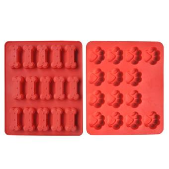 2Pcs Dog Paws Bones Silicone Craft DIY Mold Baking Cookie BiscuitChocolate Mould Tool Red - intl Price Philippines