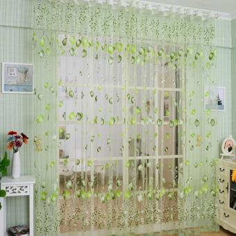 2Pcs Floral Tulle Voile Door Window Curtain Drape Panel Sheer Scarf Valances 1x2m (Green)