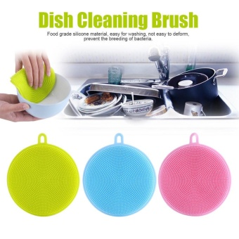 2pcs Hot Multipurpose Antibacterial Silicone Smart Sponge Cleaning Dish Kitchen Tool - intl