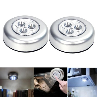 2Pcs LED Battery Powered Wireless Night Light Stick on Tap TouchLamp Lights - intl