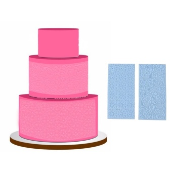 2pcs Moulds Gum Paste Impression Mat Fondant Cupcake Wedding CakeDecor (Blue) - intl - 2