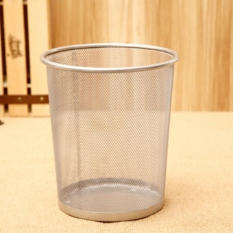 2PCS Office Can Metal Mesh Waste Bin Wastebasket Rubbish Paper Net Trash Basket - 3