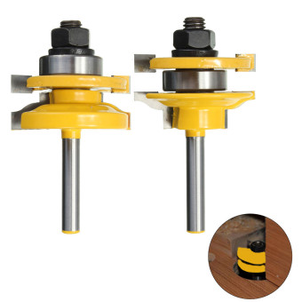 2Pcs Rail & Stile Router Bit Set 1/4'' Shank Woodworking Chisel Cutter Tool Kit