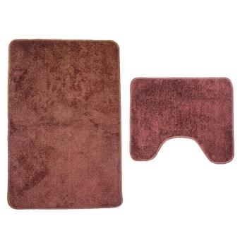 2Pcs Set Solid Color Bath Mat Toilet Non Slip Bathroom Rug Waterproof Floor Carpet - intl