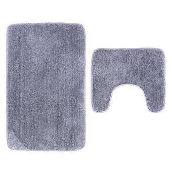 2Pcs Set Solid Color Bath Mat Toilet Non Slip Bathroom RugWaterproof Floor Carpet - intl - 2