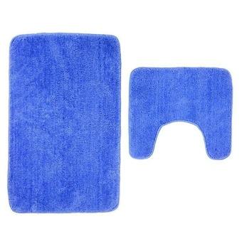 2Pcs Set Solid Color Bath Mat Toilet Non Slip Bathroom RugWaterproof Floor Carpet - intl - 3