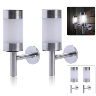 2pcs Stainless Steel Solar Powered LED Wall Light - intl