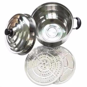 2pcs Stainless Steel Steamer and Cooker Pots 28cm - 3