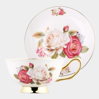 2pcs/set 180ML Bone China Coffee Tea Cup Artiny Elegant Gold-Rimmed Floral Ceramic Coffee - intl