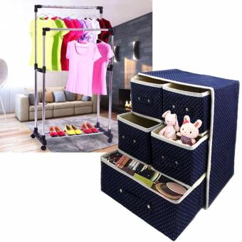 3 Layer Foldable Woven Clothing Storage Box (Dotted Blue) with HighQuality DIY Double Pole Stainless Steel Clothes Rack