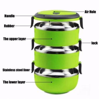 3 Layer Stainless Steel Thermal Bento Lunch Box - 4
