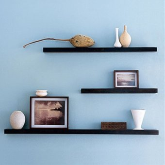 3 pack 40 50 60cm diy wooden sky floating wall shelves for Diy shelves philippines