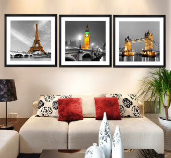 3 Panel Modern Paris Effiel Tower Painting Picture City Building Bridge Landscape Painting Canvas Wall Art HD Painting No Frame
