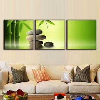 3 pcs 40x40cm Canvas Painting No Frame Green Bamboo and Cobblestones Canvas Print Modern Wall Paintings - intl