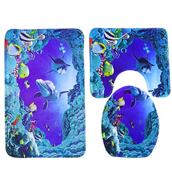 3 Pcs Sea World Dolphin Style Non-slip Bathroom Toilet Seat LidCover Pedestal Rug Carpet Floor Mat Set
