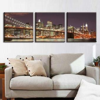 3 Pcs/Set Classic Night Brooklyn Bridge Landscape Canvas Print Modern Wall Paintings With Frame Wall Art Picture Home Decoration(No Frame) - 3