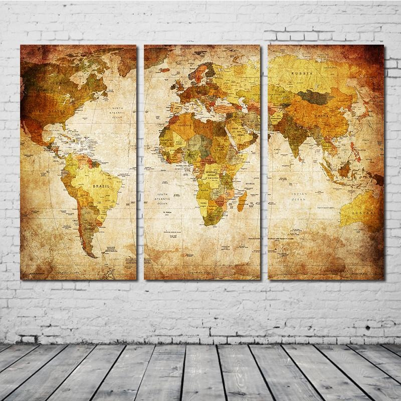 Philippines | 3 Pieces Household Inkjet Painting World Map Modern ...