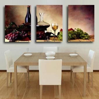 3 Pieces of Modern Wall Oil Painting Abstract wine fruit Kitchen Wall Art Picture Paint on Canvas Prints (No Frame)