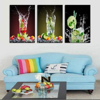 3 Sets Canvas Painting Lemon Glass Drink Art Cheap Picture Home Decor On Canvas Modern Wall Prints Artworks(No Frame) - 2