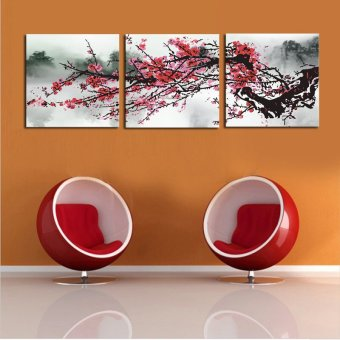 3 sets Red Plum Blossom Flowers Painting Art Cheap HD Picture HomeDecor On Canvas Modern Wall Prints Artworks (No frame)