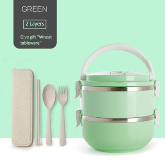 304 Stainless Steel Lunch Box Food Thermo Lunch box 1400ml(2layer)-Green - intl Price Philippines
