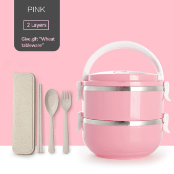 304 Stainless Steel Lunch Box Food Thermo Lunch box 1400ml(2layer)-Pink - intl Price Philippines