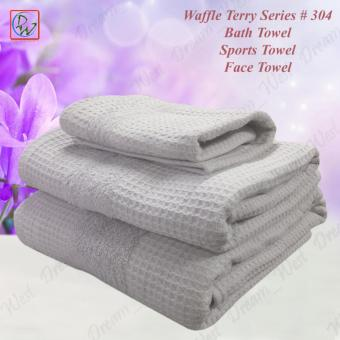 304 Waffle Terry Spa Bath Towel Set of 3 - Bath Towel / SportsTowel / Face Towel (Grey)