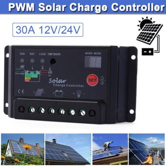 30A 12V/24V PWM Solar Panel Battery Regulator Charge Controller