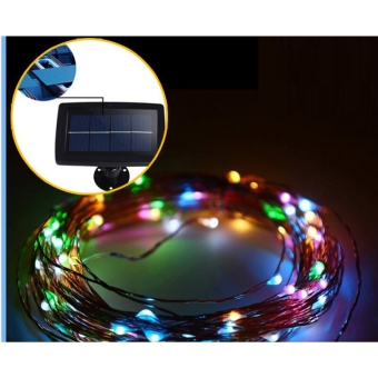 32.8ft 100 LED Waterproof Copper Solar String Lights for Christmas Tree Outdoor Garden Patio Party Wedding Holiday Decoration(Colorful) - 4