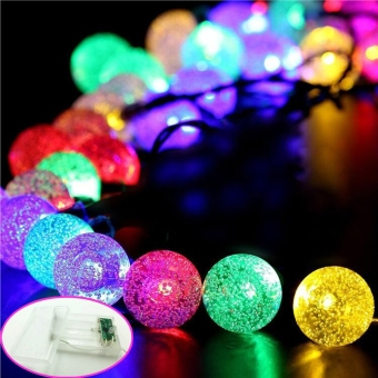 32.8ft 80 Leds Outdoor Crystal Bubble Ball Led String Light with 8Modes and Battery Powered for Christmas Tree Party Wedding GardenPatio Decoration(Colorful) - Intl