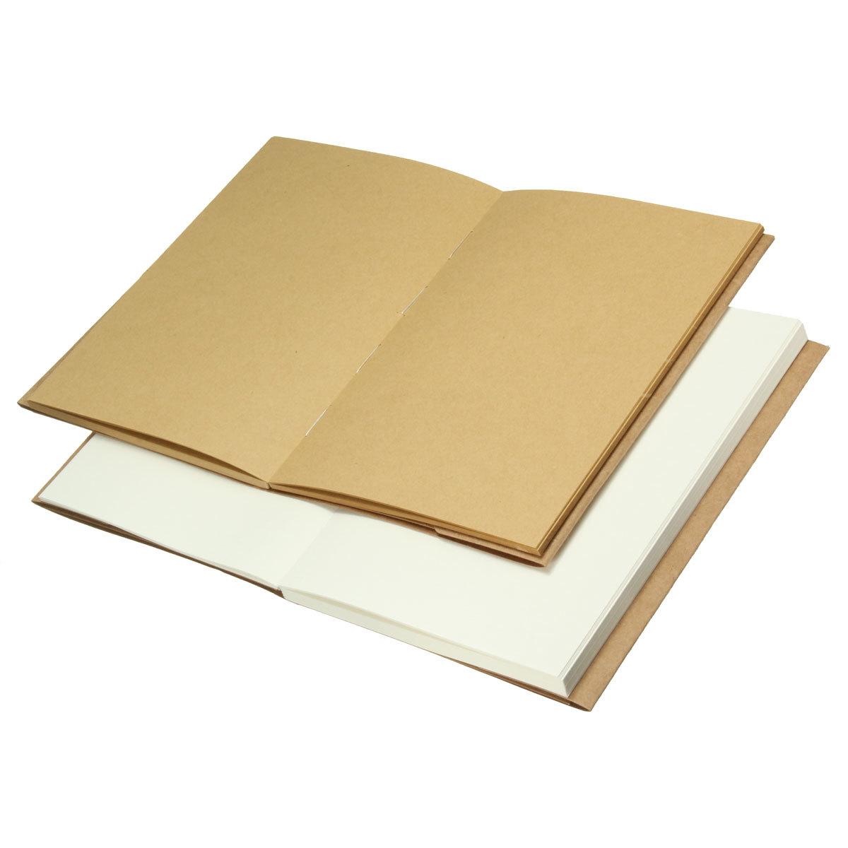 Retro Vintage Kraft Cover Blank White Paper Sketchbook Journal Diary Uchii Paket Buku Memo Notebook A5 Craft Dan Pensil Mekanik Kayu 32k Inside Page Back Sketching Note Book