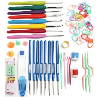 33 PCS Crochet Hooks Knitting Needle Hook Needles Set Tools CrookedNeedle Row Counter with Storage Case Random Color