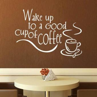 """Wake up to a Good cup of Coffee"" Wall Sticker Home Kitchen Tile Wallpaper (White) - intl Price Philippines"