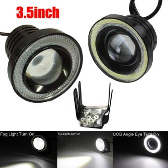 3.5Inch Car Fog Light COB LED Projector White Halo Ring DRL DrivingBulbs - intl