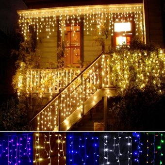 3.5m Droop 0.3-0.5m EU Plug Curtain Icicle String Lights 220V Christmas LED Lights Garden Xmas Wedding Party (Purple) - intl