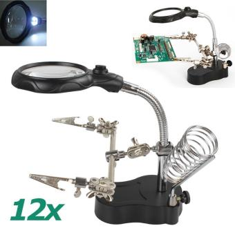 3.5X 12X Versatile Helping Hand Clip LED Light Lens Magnifier TableLamp - intl