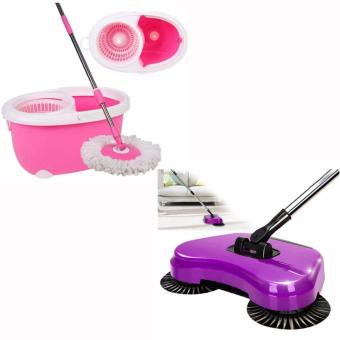 360 Easy Magic Floor Spin Mop Microfiber Rotating Head(COLOR MAYVARY) with 360? Rotary Home Use Broom Mop Telescopic Rod Hand PushFloor Dust Rubbish Sweeper Household Cleaning Machine Tool